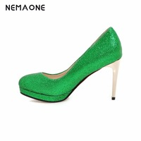2017 New Fashion Sexy Women Silver Gold Green Wedding Shoes Platform Pumps High Heels Crystal Shoes