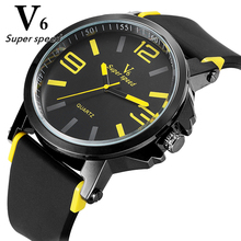 V6 Ms simple elegant brand quartz watch high quality silicone men outdoor sports watches multicolor font