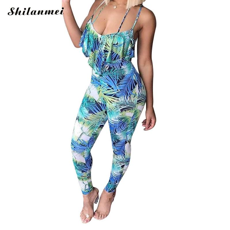 Casual flower print long rompers womens jumpsuit Sexy v neck off shoulder straight overalls Streetwear chiffon jumpsuit