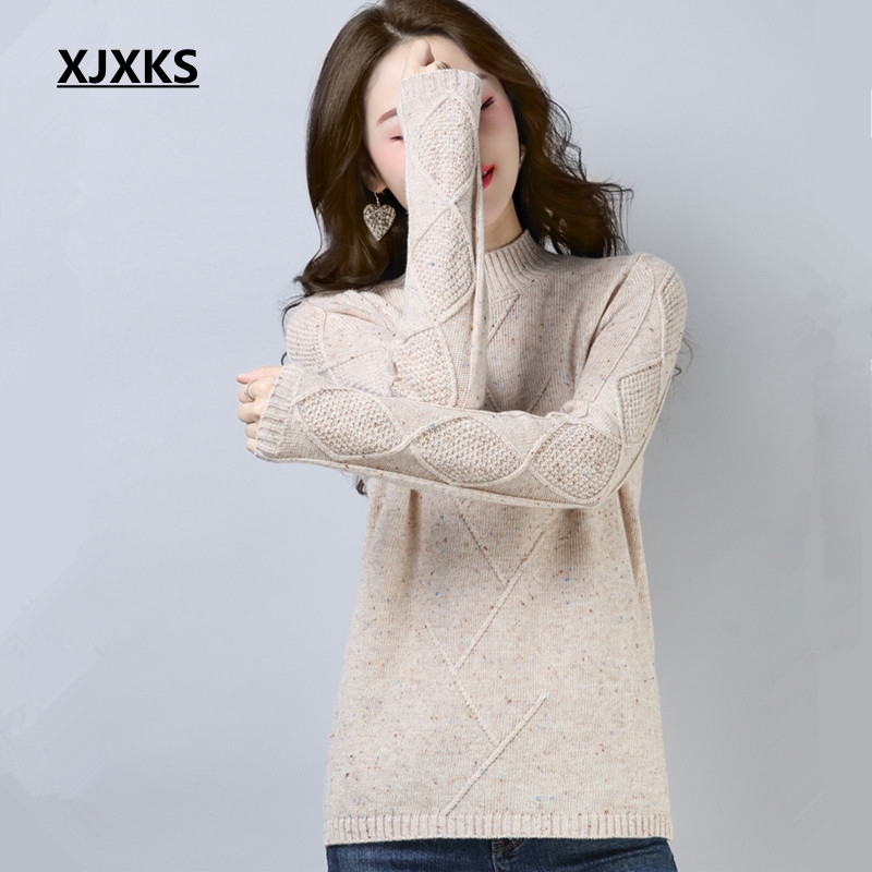 XJXKS 2018 Autumn All Match Basic Sweater Women Casual Fashion Solid Turtleneck Long Sleeve Wool Female Knitted Sweater