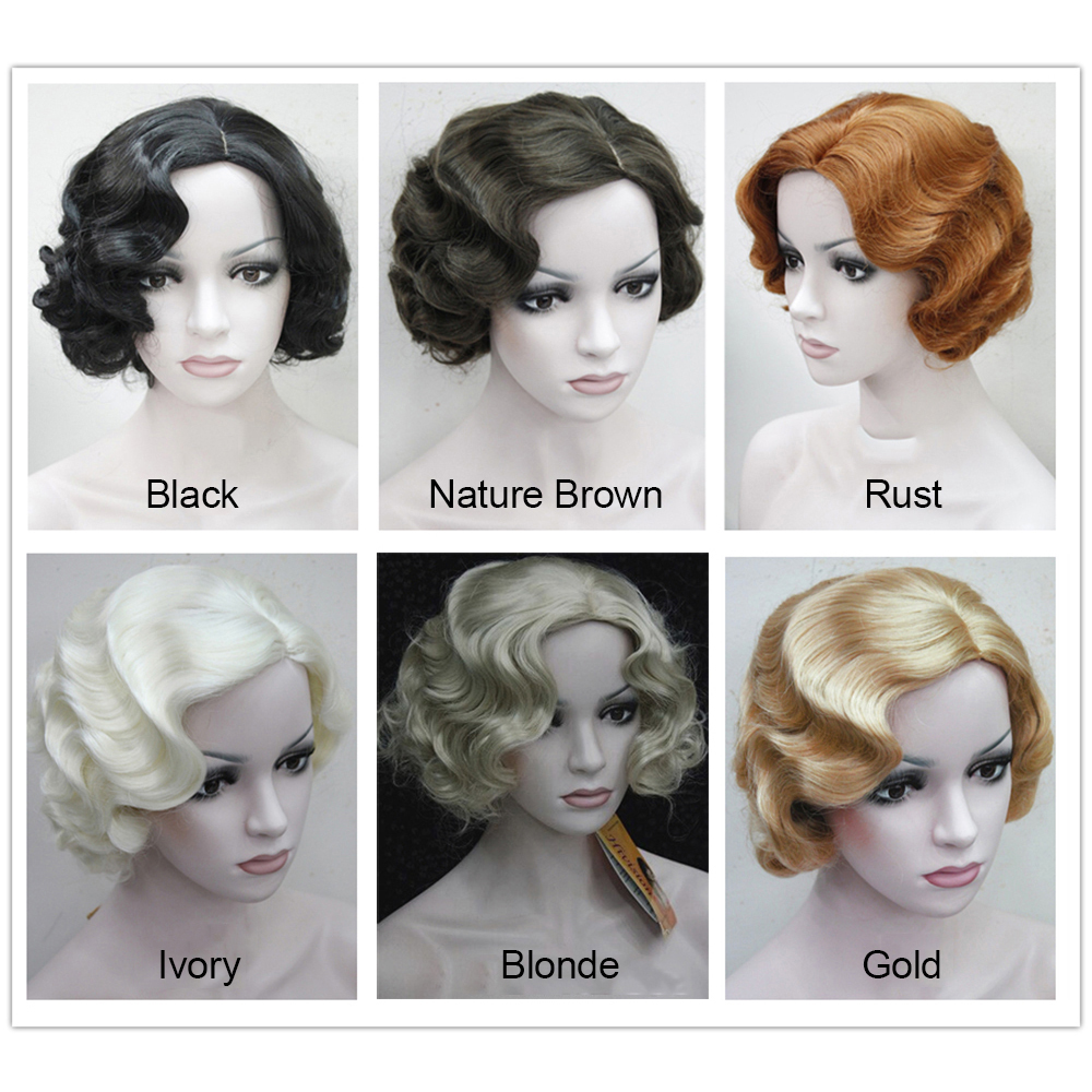 Ladies 1920s Vintage Short Curly Flapper Headwear Adult Marilyn Monroe Cosplay Hair Womens Party Fancy Dress Costume Accessreis