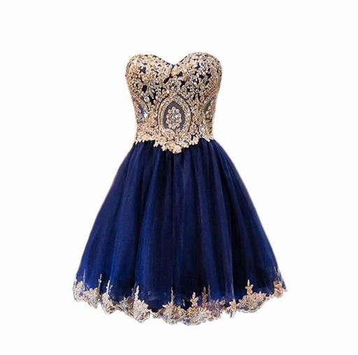 Vestido de Novia sweet heart Navy Blue prom dresses with Gold ...