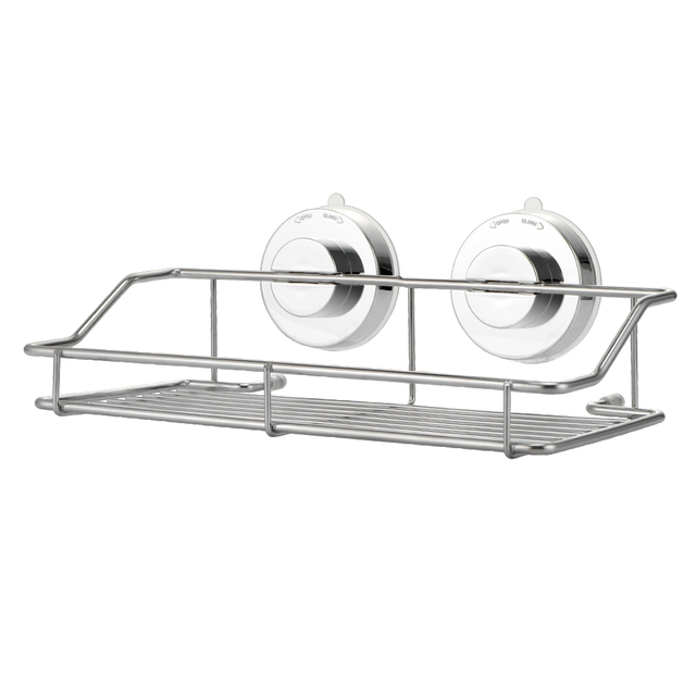 Stainless Steel Bathroom Shelves Strong Lock Suction Shower Shelf For Shampoo Stand Conditioner Accessories Wall Rack