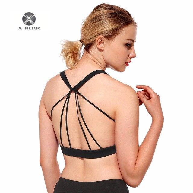28baabc6b24af X-HERR Breathable Spider Net Back Sports Bra Black Elastic 3 Styles Women  Yoga Top Quick Dry Tank Hot Sale Sexy Women Top Bra