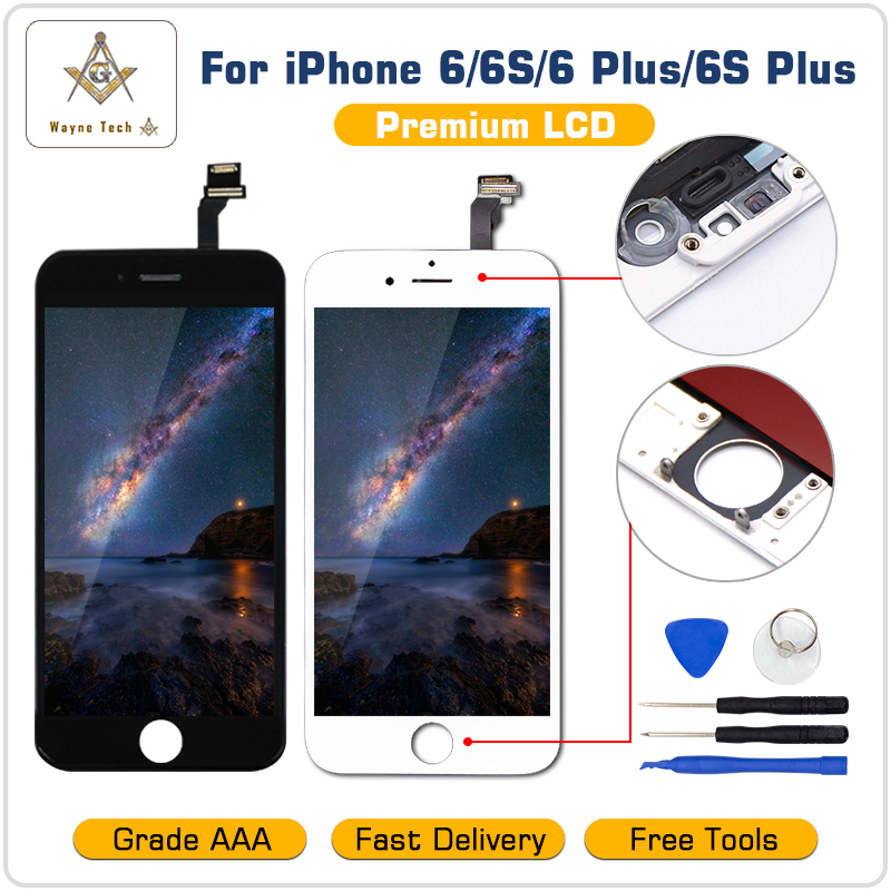 Free Shipping AAA Quality 100% Good Working LCD Touch Screen Glass Digitizer Display Assembly For iPhone 6 S Plus with tools kit(China)