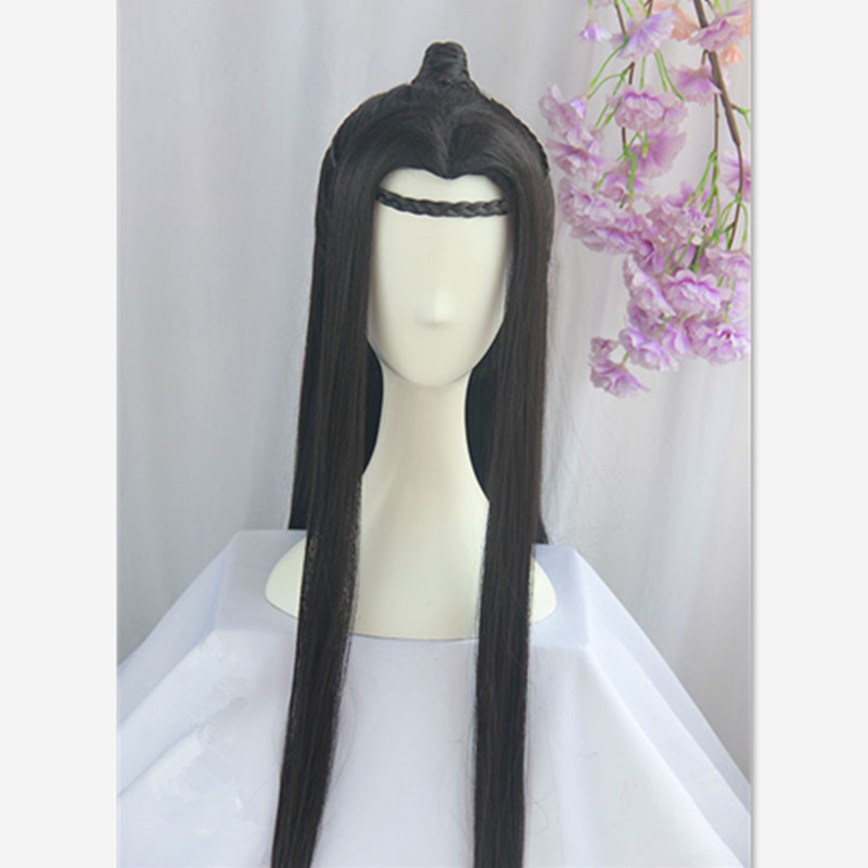 Boys Costume Accessories 80cm Black Long Vintage Hair Chinese Ancient Dynasty Hair Cosplay Ancient Chinese Hair Anime Long Hair Warrior Cosplay Costumes & Accessories