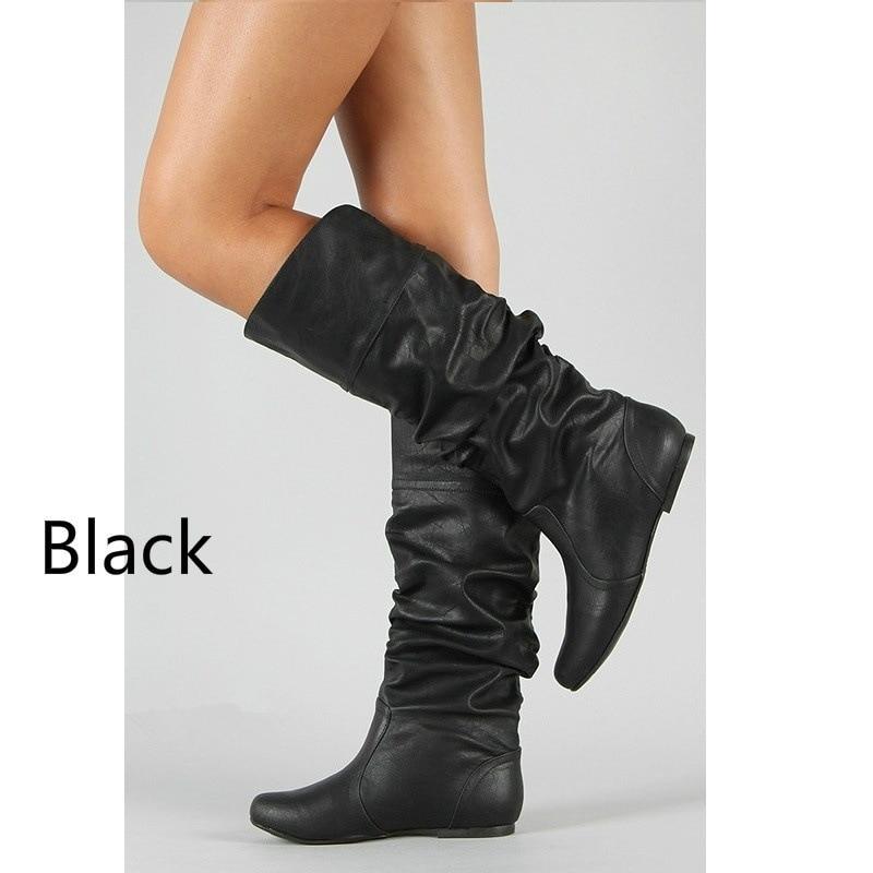Aliexpress.com  Comprar Señora partido diseño de cuña botas zapatos más tamaño  35 43 mujeres primavera otoño largo Pu cuero suave motocicleta zapatos de  ... 0965f5f32f88