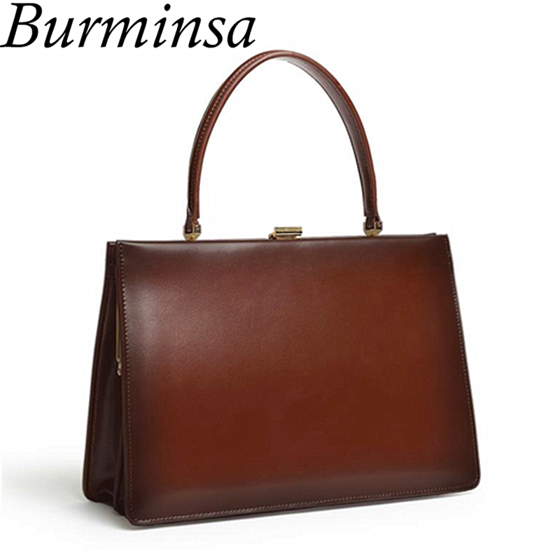 Burminsa Ladies Clasp Genuine Leather Bag Women Luxury Tote Bag Designer Handbags High Quality Women Mental