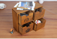 1PC Zakka 2 layrer grocery store vintage wooden drawer type cabinet storage box 26x9.5x19.5cm J0947