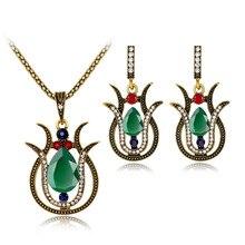 SHEVALUES Vintage Boho Wedding Jewelry Set Lily Flower Pendant Crystal Water Drop Long Popcoin Necklace Hook Dangle Earrings Set