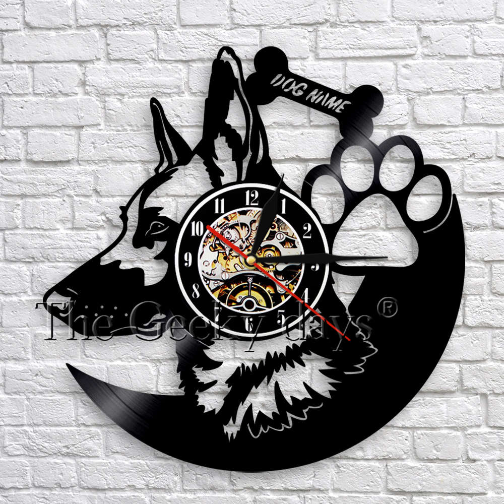 Dog Breed German Shepherd Dog Art Wall Decor Clock Customize Dog Name Vinyl Record Wall Clocks Modern Gift For Pet Lover