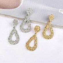 New retro womens drop earrings geometric teardrop pattern 2019 metal hanging fashion jewelry