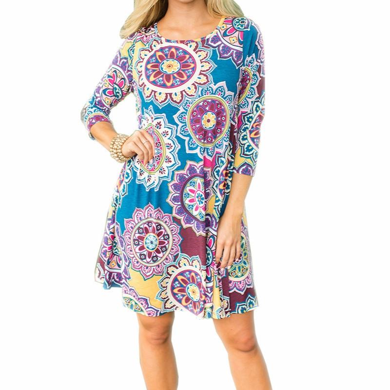 edfee7d136 Vestido de estampado Floral Boho Playa Las mujeres vestido de verano ...