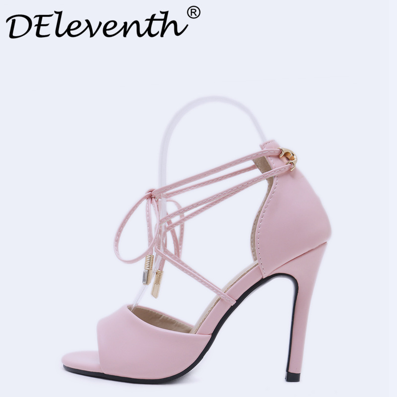 74f89e9b6a1 2018 Women Sandals Shoes Cross-tied High Heels Size 34 Pink Black Celebrity  Wearing Peep Toe Sandal High Heel Party Shoes Woman