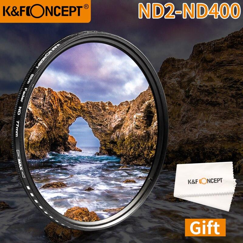 K & F CONCETTO ND Neutral Density Fader Regolabile ND2-ND400 Camera Lens Filter 52/58/62/67 /72/77/47/43mm Per Canon Nikon Sony DSLR