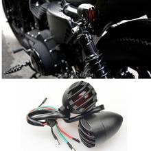 Black Bullet Grill Rear Indicators Brake Tail Light  Fits For Harley Davidson Sportster 883 1200 XL  Bobber Chopper Custom