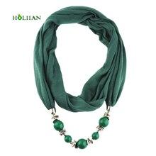 Fashion women scarf necklace beads pendent jewelry wrap bandana ethnic foulard lic winter female accessories 2017 rose green new
