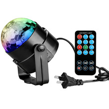 Voice Activated Mini RGB LED Stage Lamps With Remote Controller Magic Ball Laser Projector Disco Party DJ Bar Stage Effect Light
