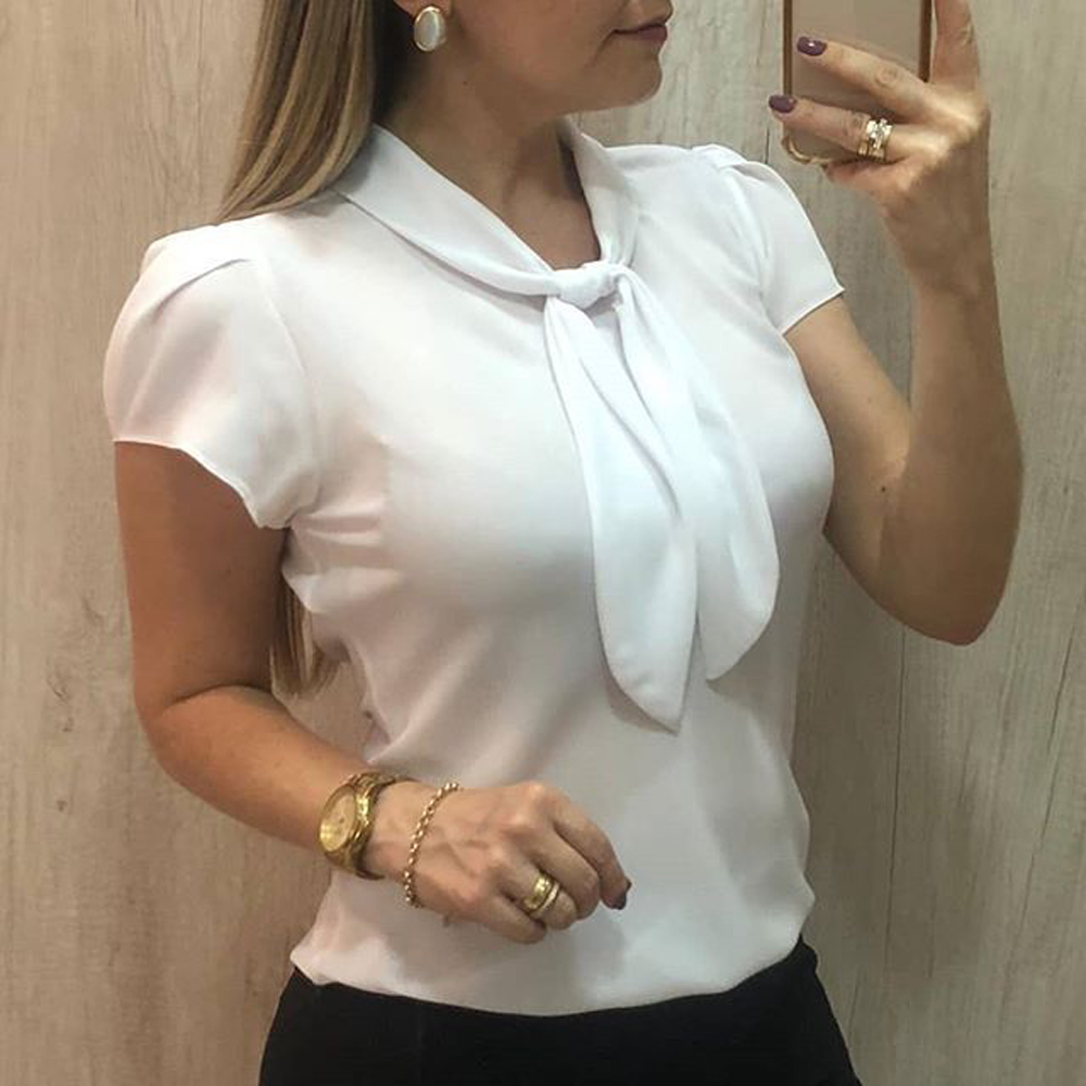 AvoDovA Women Chiffon White Shirts 2019 Summer Plus Size Blouses Short Sleeve Casual Solid Bow Tops 5XL