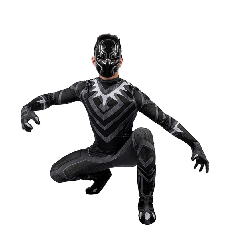 2019 New Panther Costume Cosplay Man Adult Halloween Deluxe Set Avengers US Captain Civil War Costume in Movie TV costumes from Novelty Special Use