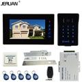 JERUAN Wired 7`` Touch key video doorphone intercom system kit waterproof touch key password keypad camera Electric mortise lock