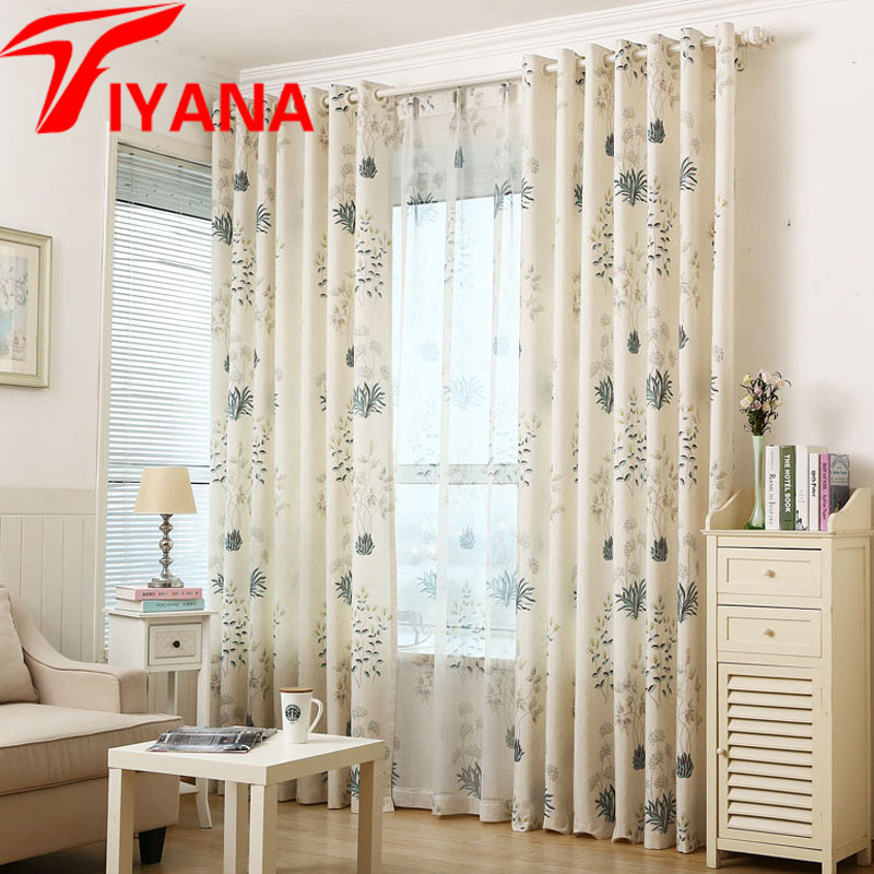 Pastoral Vintage Leaves Pattern Curtains For Balcony Living Room Cotton Linen Window Panels Door Drapes