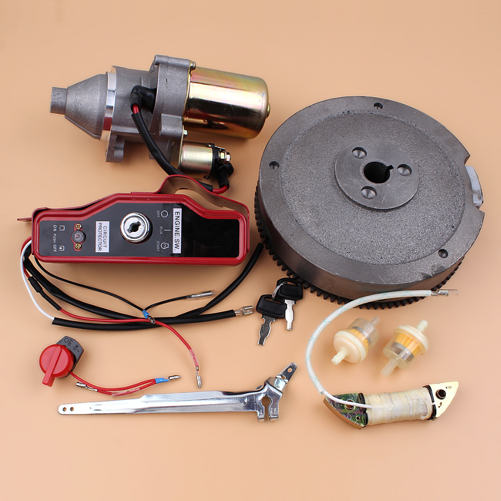 Exectric flywheel starter motor switch box charging coil kit fit exectric flywheel starter motor switch box charging coil kit fit honda gx340 gx390 gx420 11 13hp engine motor 5 65kw generator in lawn mower from tools on publicscrutiny Gallery