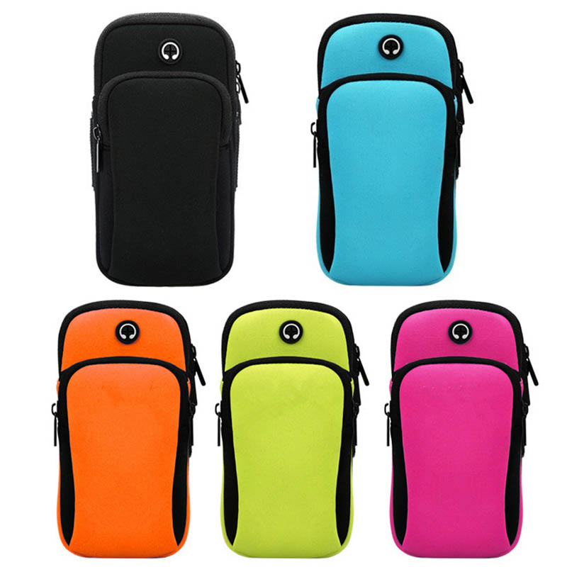 Running Arm Bags Outdoor Sports Wrist Arm Band Pouch Mobile Cell Phone Holder Wallet Bag Headphone Hole Outdoor Fitness Bags