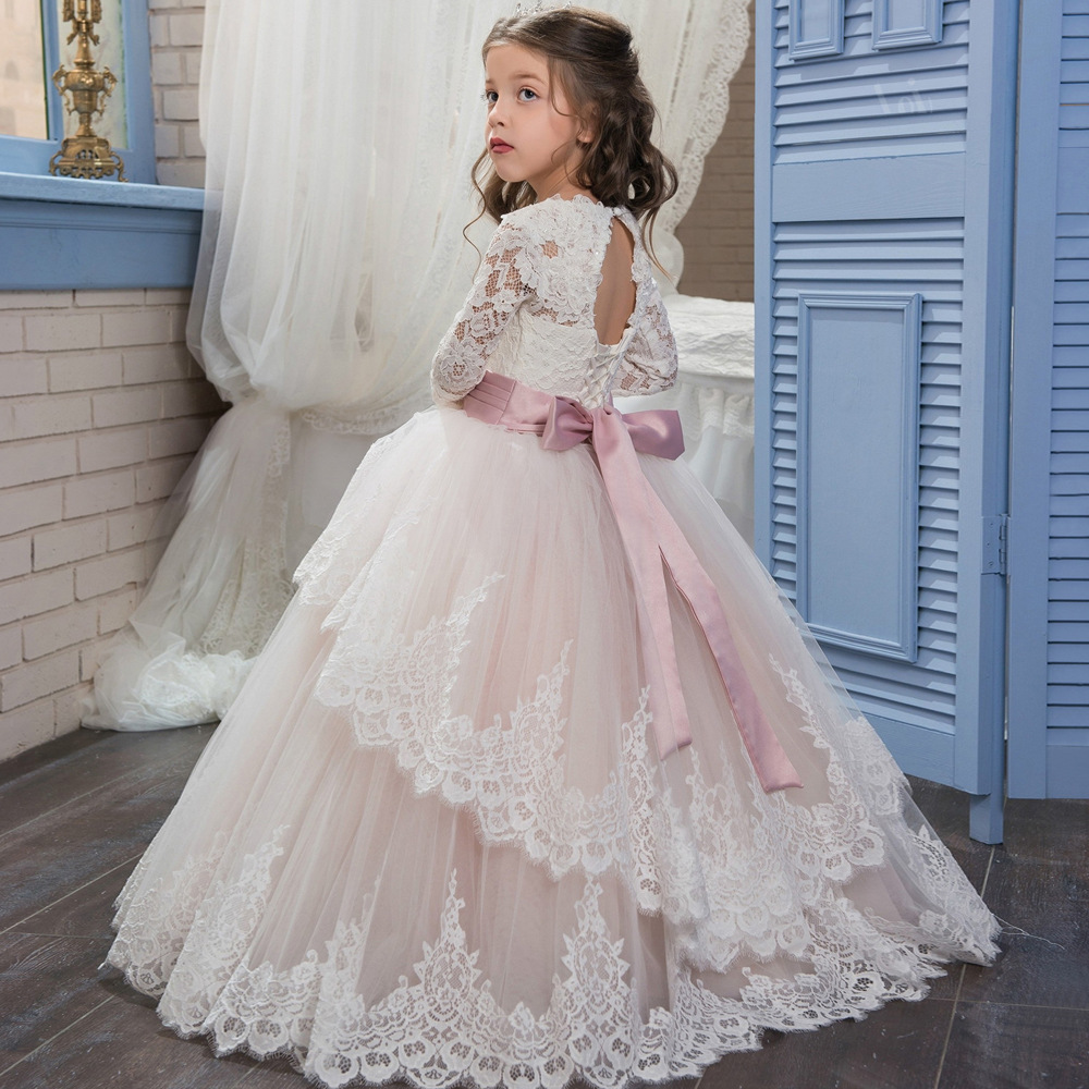 c48dc69092397 New Champagne Puffy Lace Flower Girl Dress for Weddings Long Sleeves Ball Gown  Girl Party Communion Pageant Gown VestidosHW1084-in Dresses from Mother ...