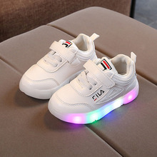 hot deal buy hook&loop unisex fashion baby casual shoes solid cute led lighted baby sneakers famous brand girls boys shoes infant tennis