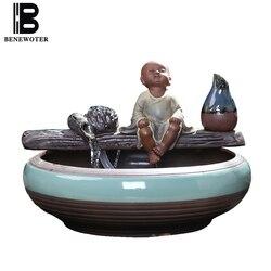 110/220V ceramiczny piękny mnich fontanna Home Vintage gruba ryba zbiorniki rzemiosło dekoracyjne Waterscape na urodziny prezenty wazony