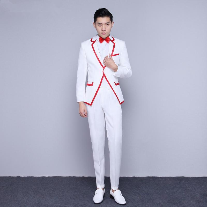 Pantalon Mâle Étoile Costume Bar white Mode veste Red Edge Blue White Hôte De Costumes Danseur Spectacle Vêtements Edge Bal Chœur Chanteur Performance Mince Pour fdAxq5