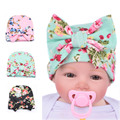 3 Color Spring Winter Print Floral Cotton Cap Beanies For Infant Toddler Baby Big Bow European Knitted Warm Ear Hats