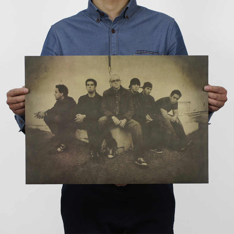 Rock Band Linkin Park Vintage Carta Kraft Manifesto Casa Ufficio della Scuola di Decorazione Della Parete di Arte Riviste Retro Poster e Stampe