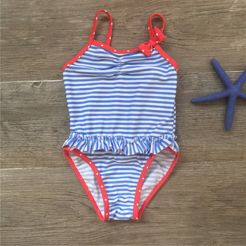 6 36month Kids Bow Striped Girls One Piece Swimsuit Kids