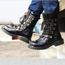 Men's Genuine Leather Boots for Motorcycle