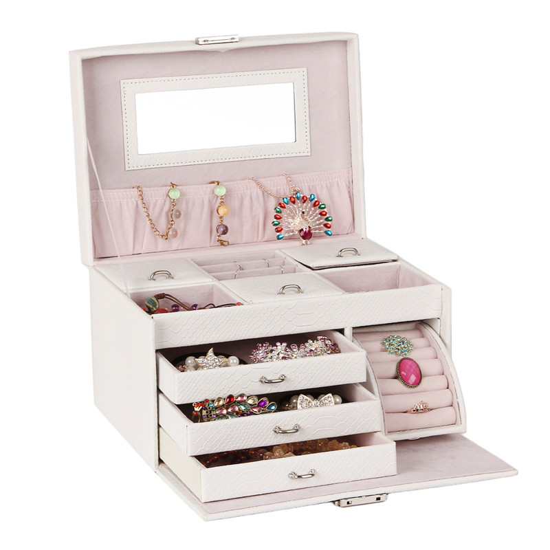 White Large Jewelry Box Girls Storage Travel Case Display Organizer Packaging Rings Earring Necklace Snake Pattern