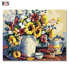 WEEN Yellow Flower Pictures By Numbers DIY Digital Vase and Wall Oil Painting Canvas Art For Home Artwork 2017 Gift