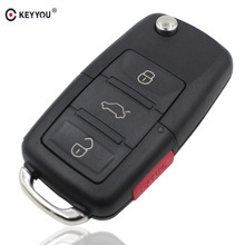 KEYYOU 4 Buttons Remote Flip Folding Car Key Shell Replacement Car Key Case Cover For VW Volkswagen Golf MK4 Bora Without Blade
