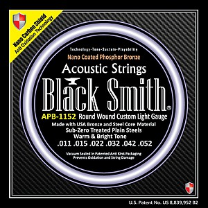Black Smith Strings Nano-Carbon Shield AOT Coated Phosphor Bronze Acoustic Guitar Strings, Made in Korea