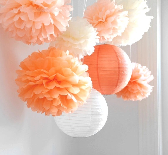 """8pcs/lot Wedding Decorations Set """"Mood For Love"""" Tissue Paper Pom Poms Chinese Paper Lanterns Hanging Fluffy Flowers Party Decor"""
