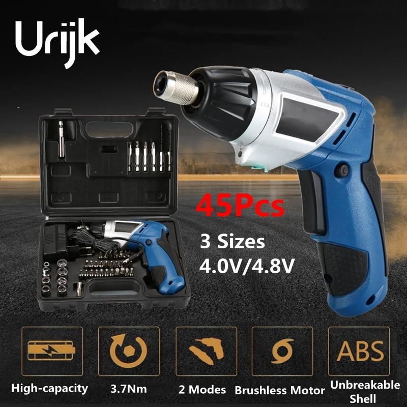 Urijk 45Pcs 3Sizes Electric Screwdriver Set Kit Charging Lithium Battery Magnetic Socket Rod DIY Hand Tool Set 4.0/4.8V