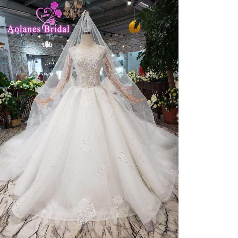 Best Ball Gown Wedding Dresses: Long Sleeve 2019 African Ball Gowns Wedding Dress Lace