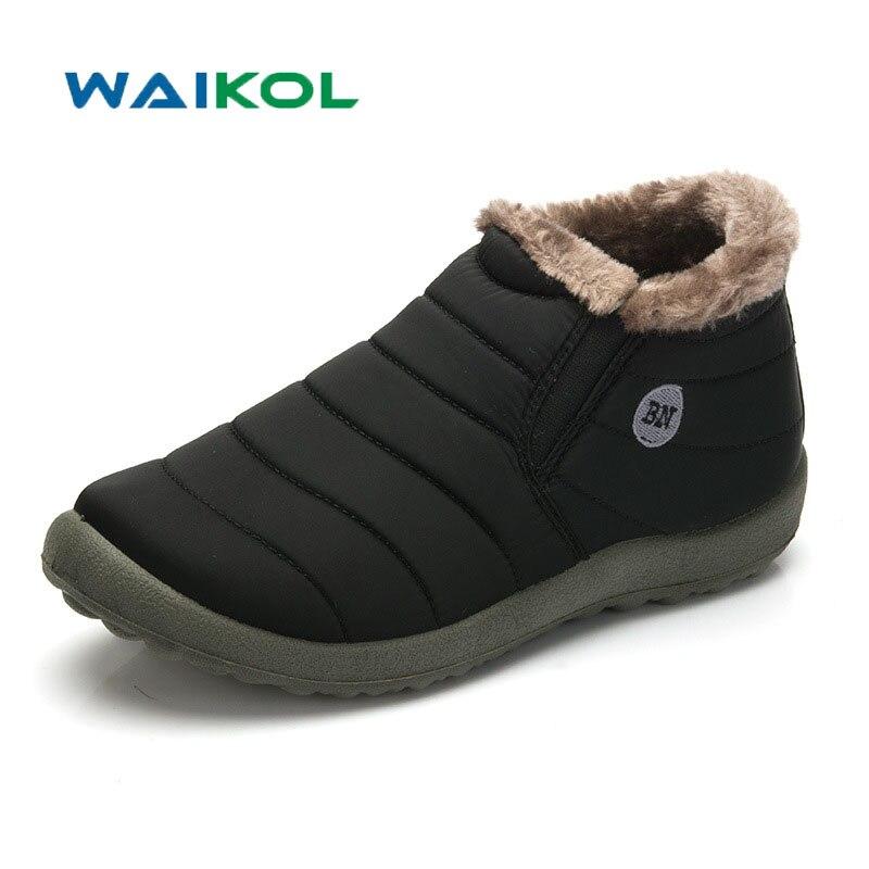 Waikol Men Winter Shoes Solid Color Snow Boots Cotton Inside Antiskid Bottom Keep Warm Waterproof Ski