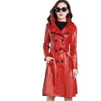 2018 Для женщин Длинные рукава v образным вырезом кожа новый женский плюс Размеры тонкий с PU кожаные пальто куртка BL192