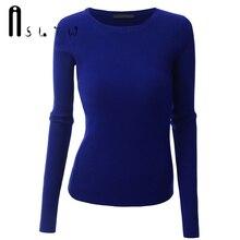 Asltw новые Брендовые женские свитера модные однотонные Цвет пуловер с длинными рукавами плюс Размеры высокая эластичность Тонкий женский свитер