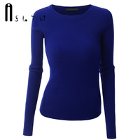 ASLTW Brand NEW Women Sweaters Fashion Solid Color Long Sleeve Pullover Plus Size High Elasticity Slim