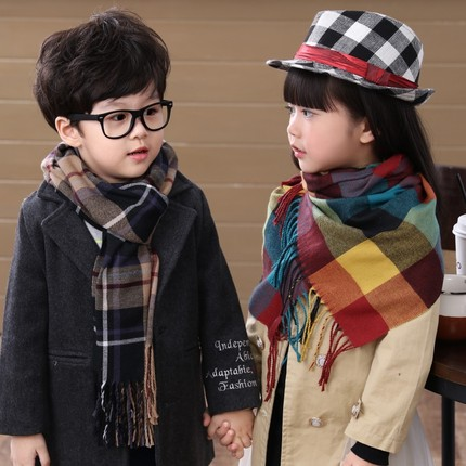 MIARA.L Korean Style Of The Boy And Girl Plaid Scarf Baby Faux Cashmere Shawl Child Warm  And Stylish Scarf Shawl Long Section