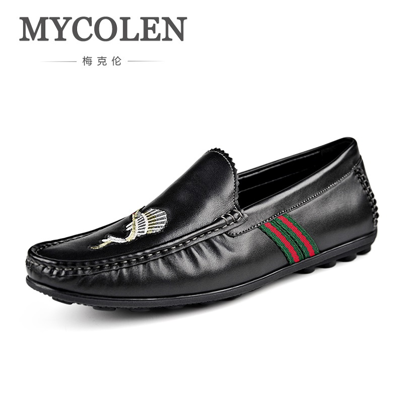 MYCOLEN 2018 Fashion Brand Summer Doug Male Casual Shoes Genuine Leather Comfort Breathable Man Shoes Scarpe Uomo Casual business casual shoes and leather doug leather shoes breathable sneaker fashion boots men casual shoes handmade fashion comforta