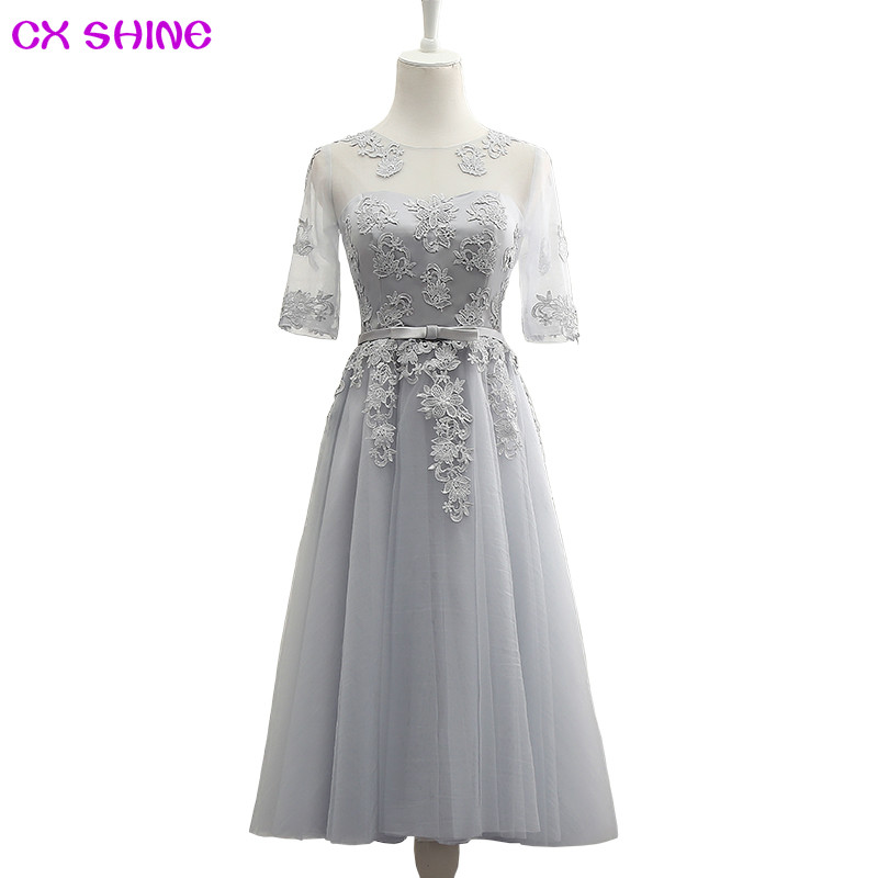 CX SHINE Rosa champagne Halv muffa Blåblomma Långa kvällsklänningar Hålrygg Bride Bankett Robe De Soiree Party Prom Dress